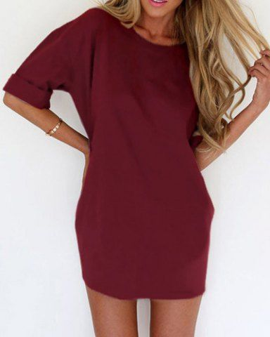 Fashionable Solid Color Scoop Neck Short Sleeve Dress For Women Club Dresses | RoseGal.com Mobile