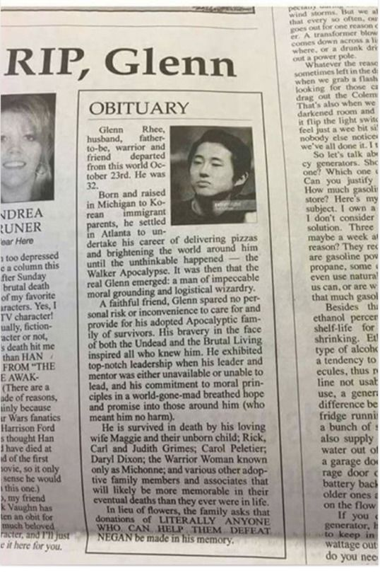 Columnist devastated by Glenn's death can't write column, writes Glenn an awesome obituary for him instead.