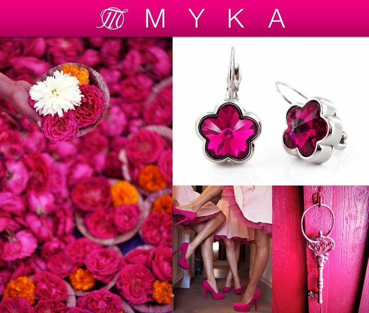 Spring showers bring April flowers!  MYKA is in full bloom with our Flower Crystal Earrings.  #Myka #MykaJewellery #Fuchsia #Swarovski #Earrings