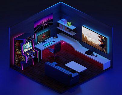 gaming blender behance computer hy hao interior furniture setup bedroom wallpapers phu