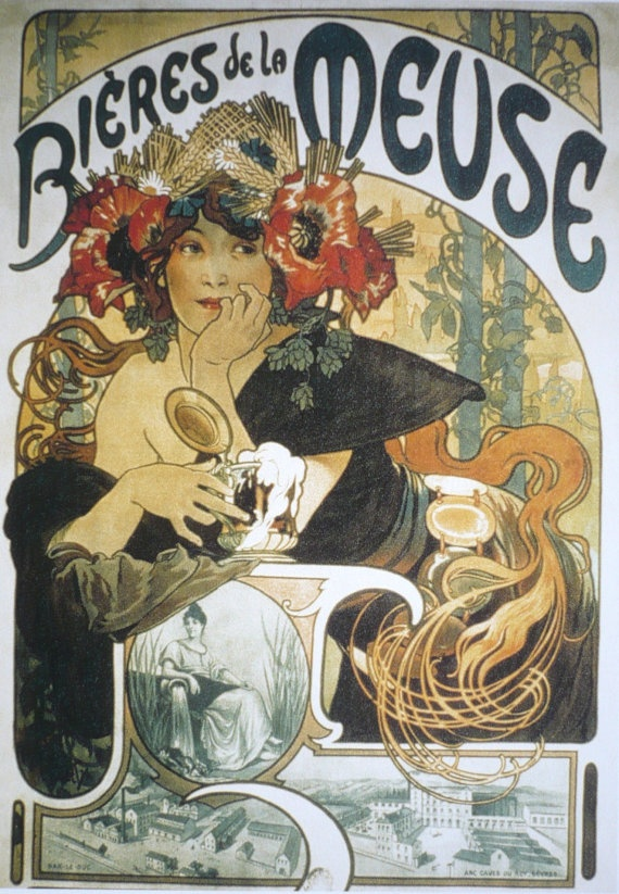 """Beer Mucha Advertising Poster - French Art nouveau - Woman 8"""" x 12"""". $9.00, via Etsy."""