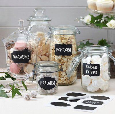 12 Aufkleber im Kreidetafel-Look + Kreide -Gläser,Hochzeit,Vintage,Candy Bar
