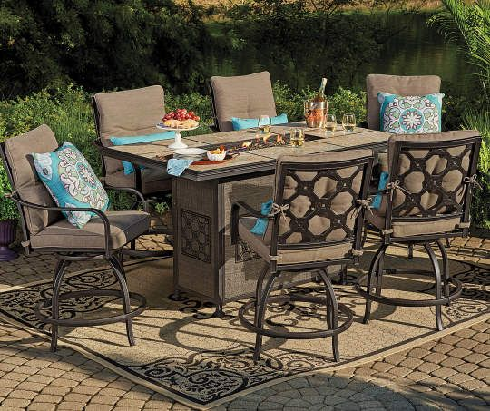 Wilson Fisher Stoneridge 7 Piece High Top Dining Set With Fire Pit Big Lots Big Lots Patio Furniture Outdoor Dining Table Patio Dining Set