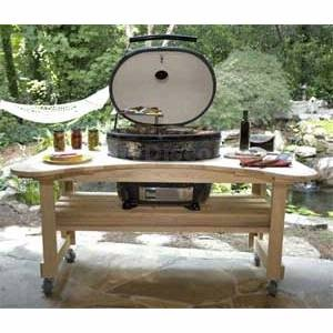 primo grills u0026 smokers 600 cypress stand table for oval xl ceramic smoker - Primo Grills