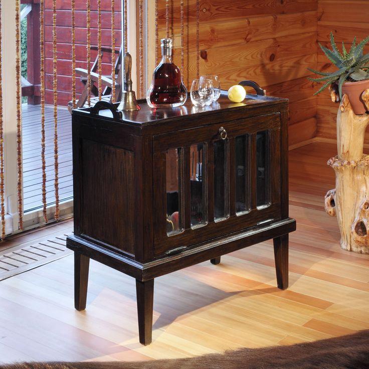 Шкаф-бар из массива тика, стеклянная дверь, съемный поднос.             Материал: Стекло, Дерево.              Бренд: Teak House.              Стили: Классика и неоклассика.              Цвета: Темно-коричневый.