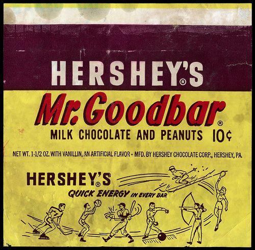 Hershey's - Mr Goodbar 10-cent candy bar wrapper - 1960's by JasonLiebig, via Flickr