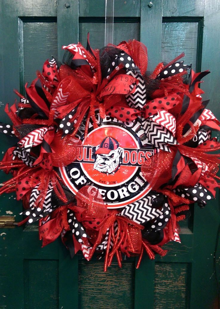Georgia Bulldogs Wreath Dawgs Wreath University of Georgia Wreath Bulldogs Wreath  Georgia Football Wreath UGA football Wreath UGA wreat by WhimsyWreathsDesigns on Etsy