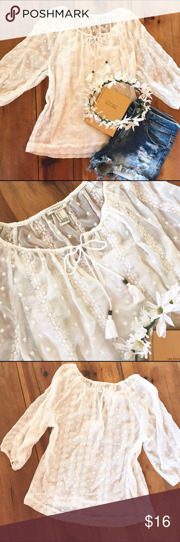Top-Lacy, sheer, boho floral.  Shown with a cami. Cream colored lacy, sheer, boho floral top.  Shown with a cream cami underneath.  So pretty✨****Cami is NOT included. Forever 21 Tops Blouses
