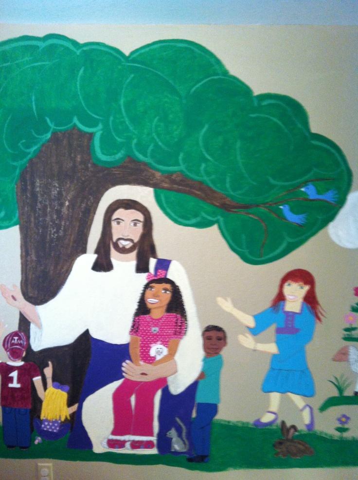 Mural for church nursery church nursery pinterest for Church nursery mural ideas