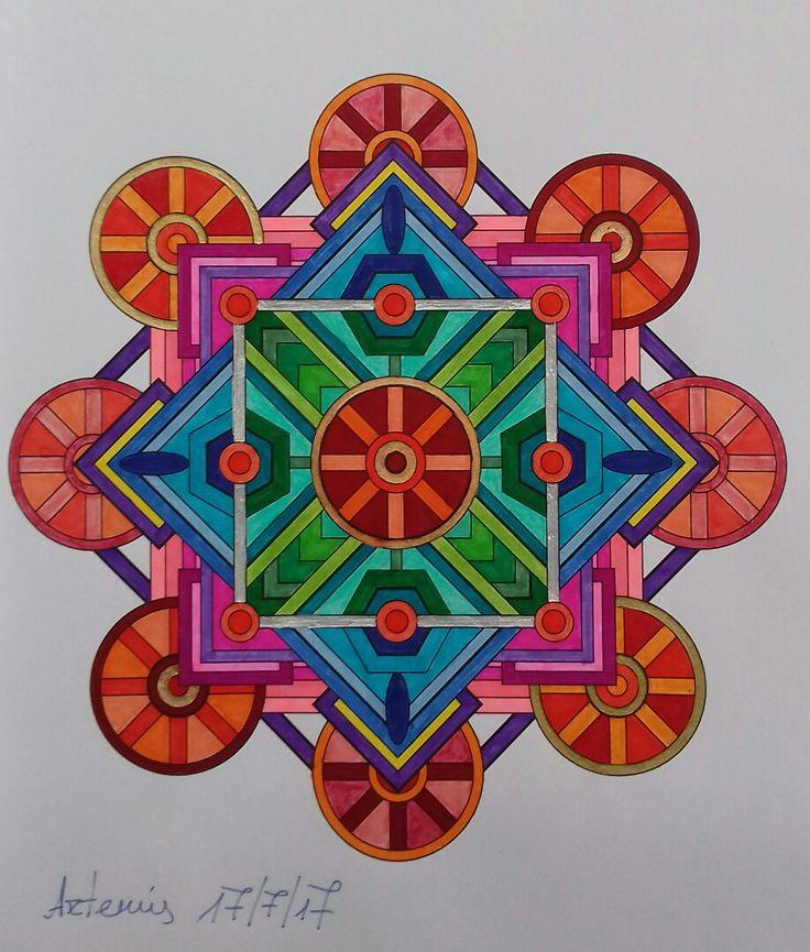 Mandala design vol. 2 by Jenean Morrison coloured by Artemis Anapnioti. Week 62 / 17072017