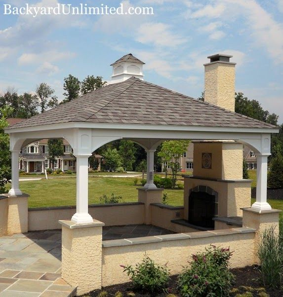 14'x16' Traditional Vinyl Pavilion with Cupola and Electrical Package http://www.backyardunlimited.com/pavilions