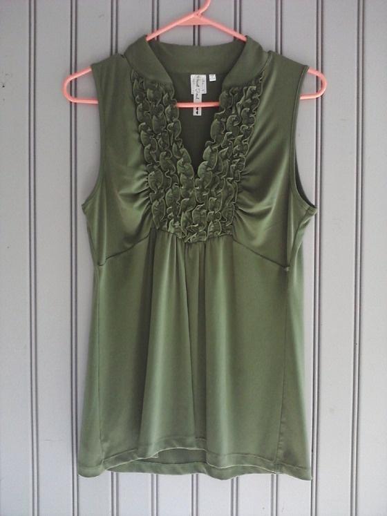XL Dark Kahki Green Sleevless Blouse With Ruffled Tuxedo Neckline $15.00