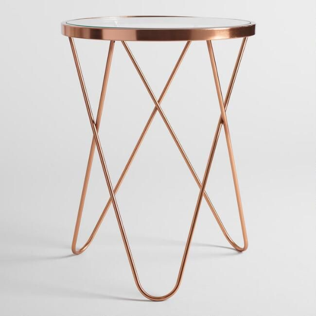 Rose Gold Tomlin Accent Table With Gl Top V2