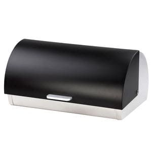 Store, organize, and keep your bread fresh in this bread box. Made from heavy weight stainless steel with a frosted acrylic roll top lid. Traditional design with contemporary appeal. Hand wash only.