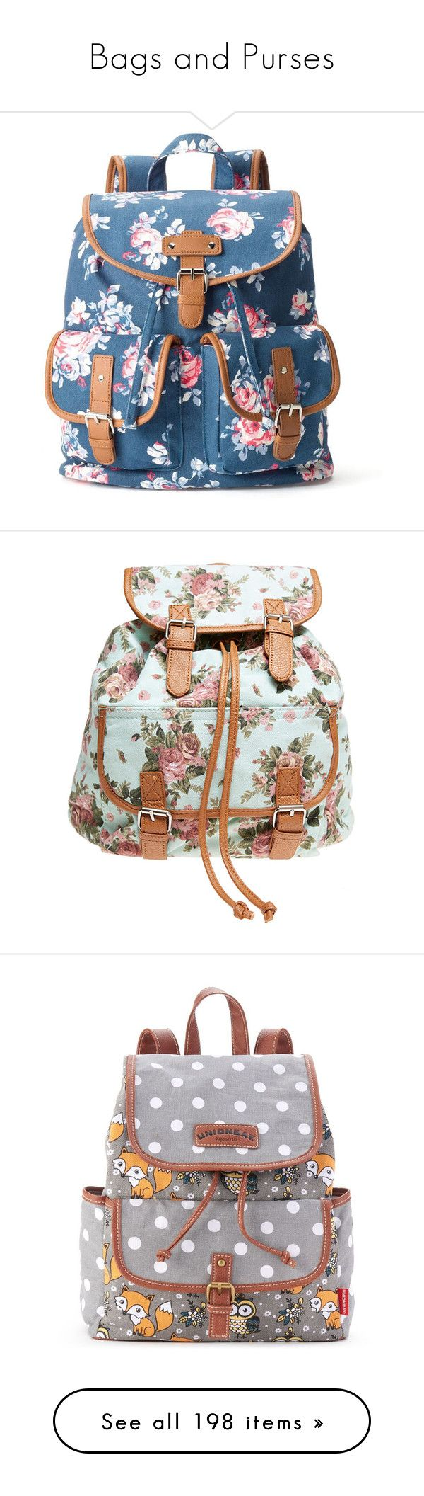 """Bags and Purses"" by knight-of-breath ❤ liked on Polyvore featuring bags, backpacks, accessories, blue, floral backpacks, draw string bag, floral pattern backpack, day pack backpack, backpack bags and backpack"
