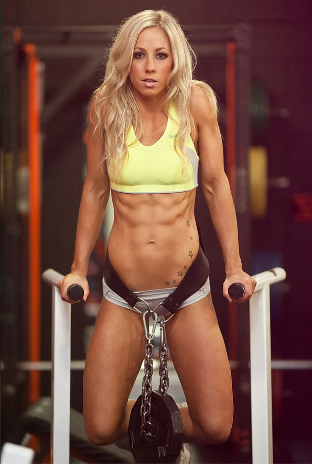 Weighted dips-- This chick has my dream body!