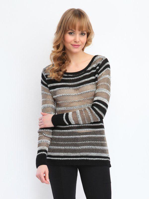 sweter długi rękaw damski   klasyczny szary - SSW1485 TOP SECRET