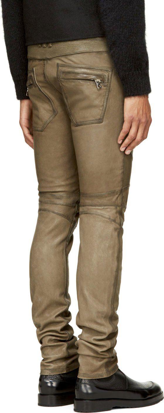 Balmain: Olive Green Leather Classic Biker Trousers | SSENSE