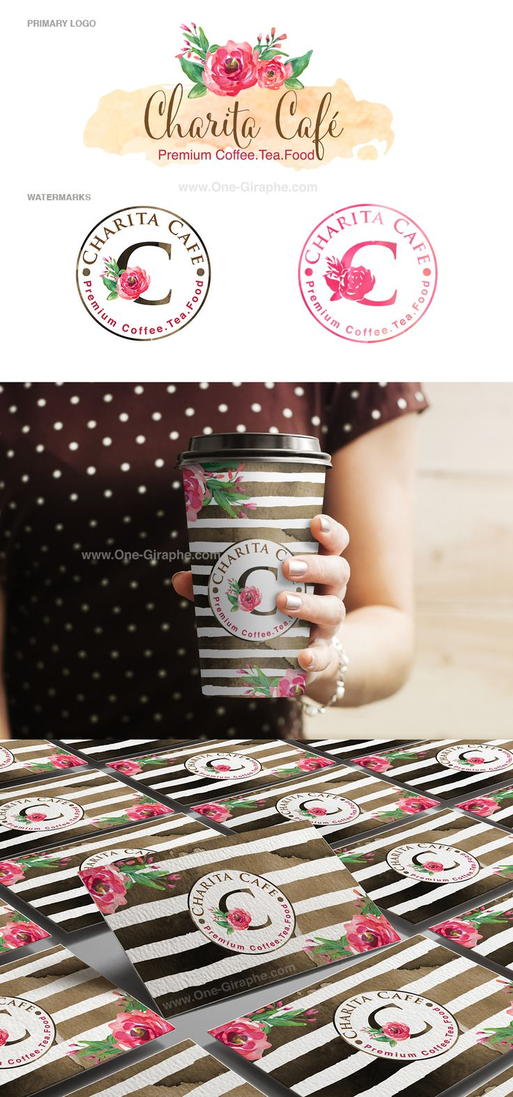 Coffee Shop - Portfolio www.One-Giraphe.com #branding #logo #coffee #coffeeshop #stripe #watercolor #flowers
