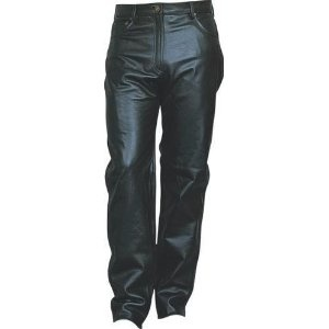 Ladies Jean Style Black Leather Five Pocket Pants