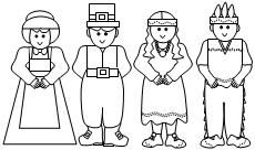 pilgrim and indian coloring pages | Popsicle stick puppets... Color, cut out, glue to stick ...