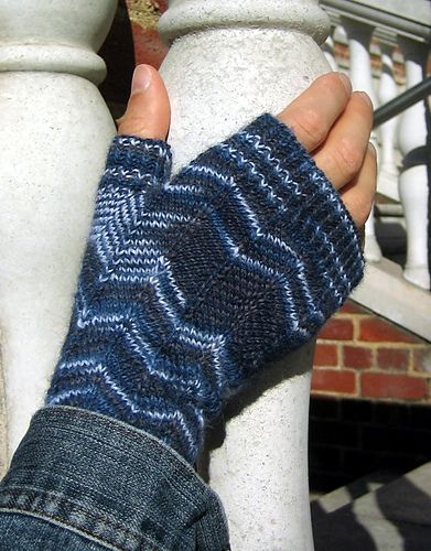 These mitts let the variegated yarn do half the work, creating a subtle stripey effect. The chevron pattern keeps you from falling asleep while knitting, and works beautifully with multi-coloured yarns.