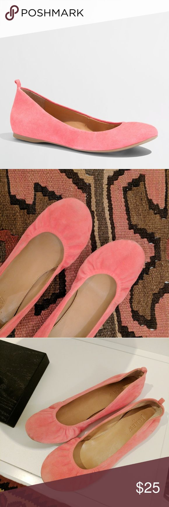 J.Crew Suede Ballet Flats Bright pink ballet flats worn only a few times and in great condition. Super comfy with a cushioned leather insole. First image from J.Crew is best for color reference. J. Crew Shoes Flats & Loafers