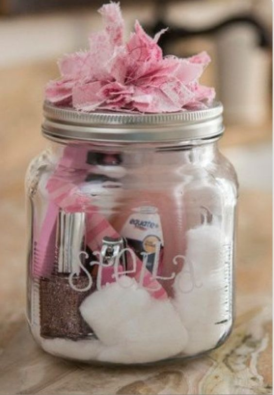 Mason Jar Party Favors filled with sleepover essentials are a great idea for a girls slumber party.