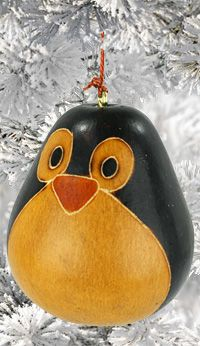 Happy Penguin Gourd Ornament