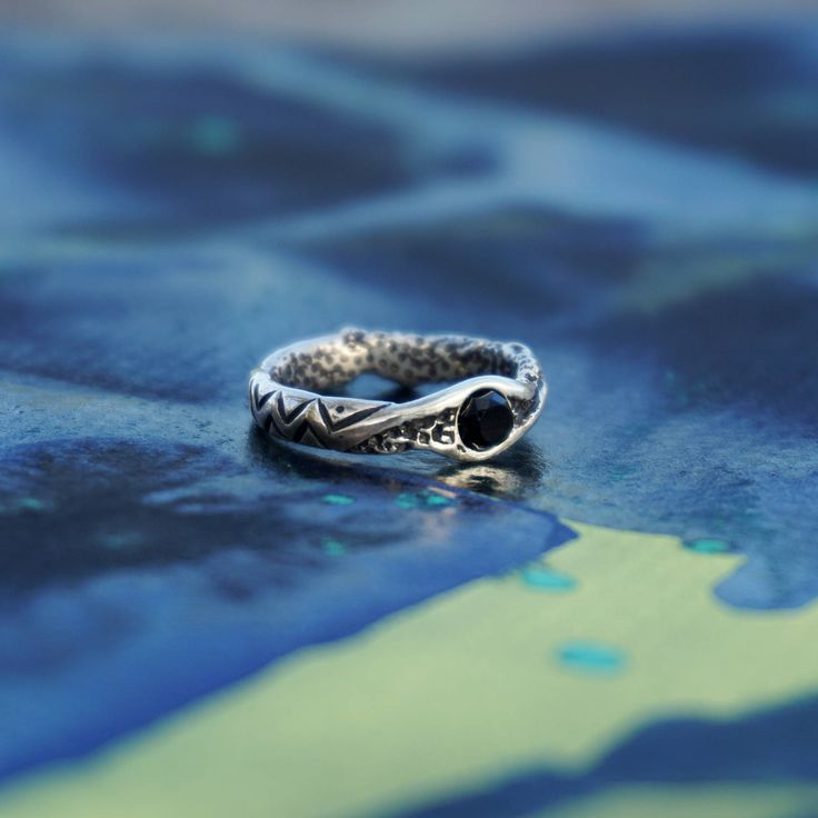 """Silver Ring """"Wave"""" with Black Onyx-Sterling Silver Ring-Onyx Ring-Black Stone Ring-Mens Ring-Mens Onyx Ring-Gift for Him-Mens Silver Ring"""
