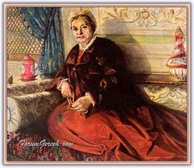 Mihri Müşfik Hanım ''Mihri Rasim'' (1886 - 1954) | Türk Ressam - Ali Rıza Bey'in annesi Naile Hanım (1908 - 1909)