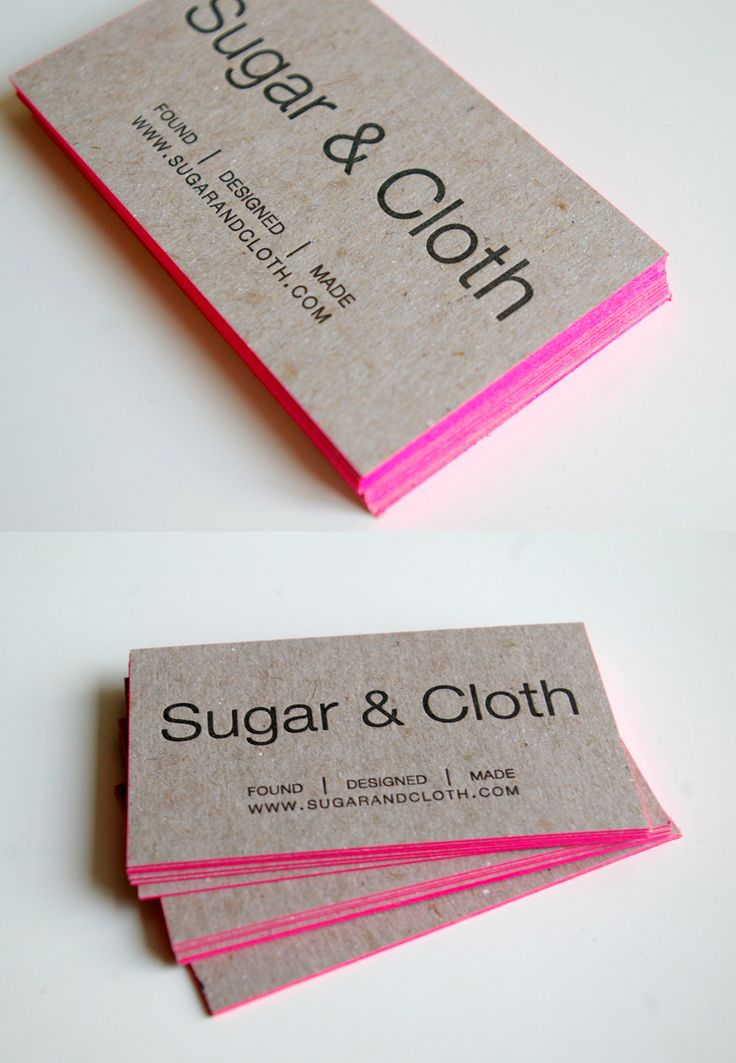 letterpress kraft business cards with hot pink edges