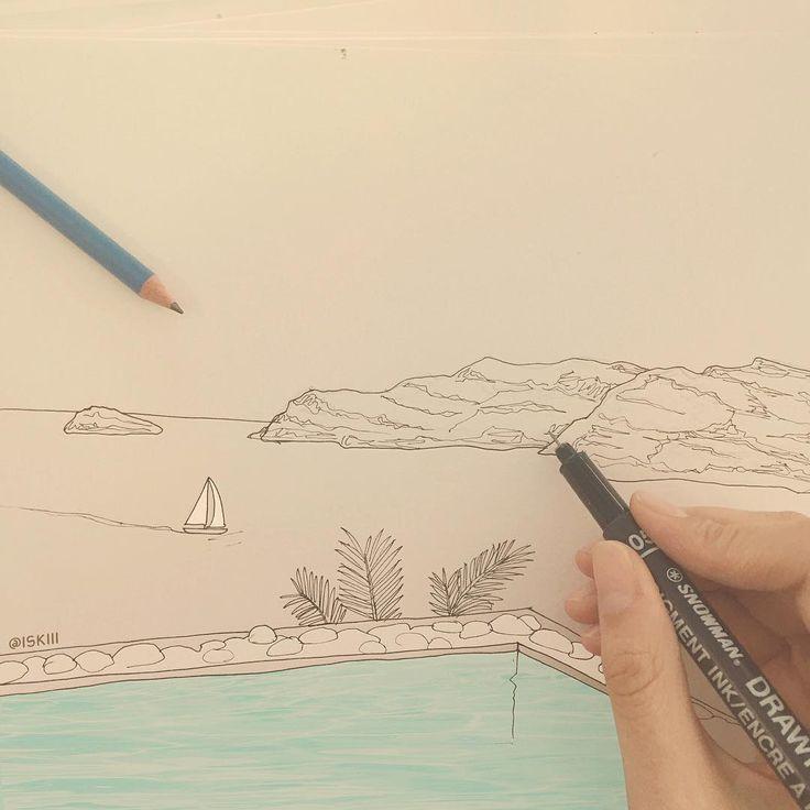 greek islands doodle  ❑ art by @ISKIII