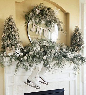 Very non religious. Maybe less grey in personHoliday, Decor Ideas, Mantel Decor, Decorating Ideas, Winter Wonderland, White Christmas, Christmas Decor, Christmas Mantles, Christmas Mantels