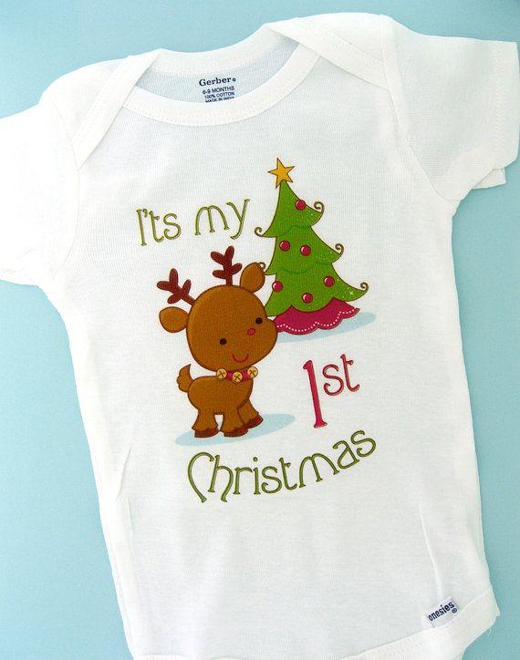 f3fa2a7550ad 1st Christmas Onesie, First Christmas Shirt, Personalized 1st Christmas T- Shirt or Onesie, Reindeer Shirt (11212011a) | Holidays | Christmas shirts,  ...