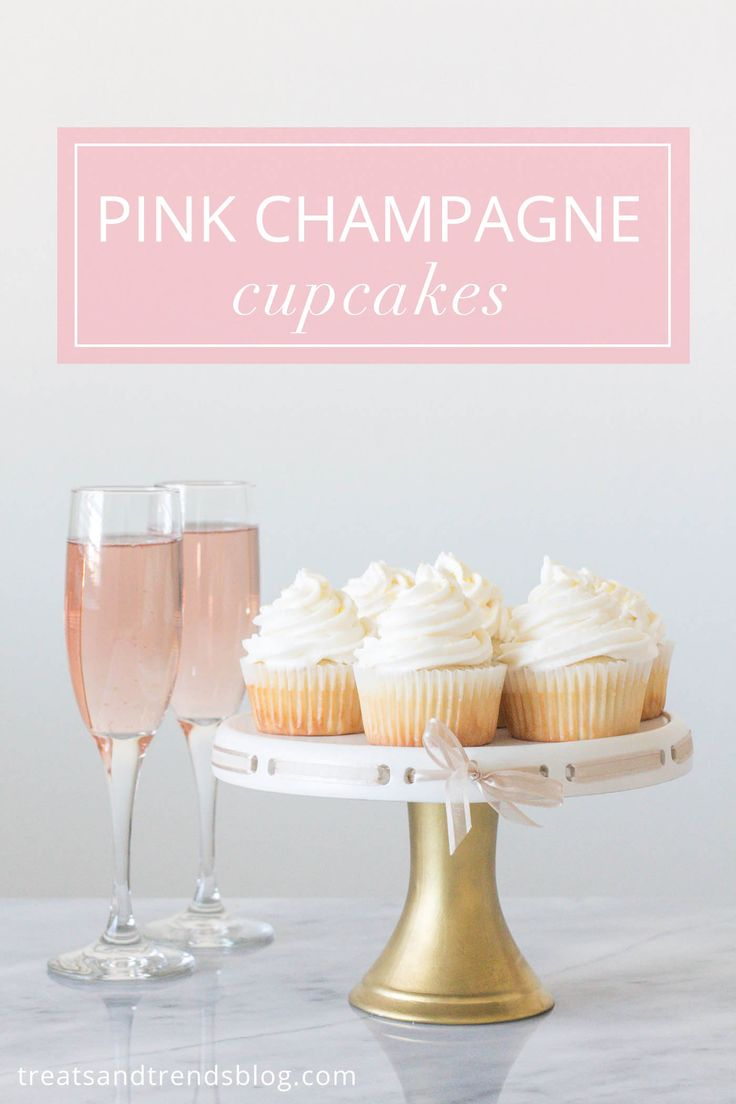 Pink Champagne Cupcakes, New Year's Eve Dessert Recipe Idea