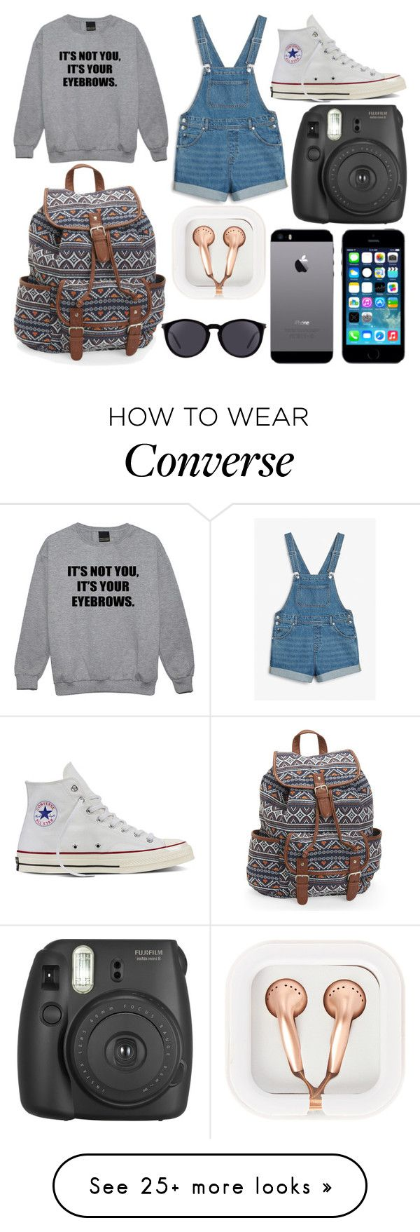 """School Day"" by susanna-trad on Polyvore featuring Minga, Monki, Converse, Aéropostale, Fujifilm, FingerPrint Jewellry, claire's and Yves Saint Laurent"