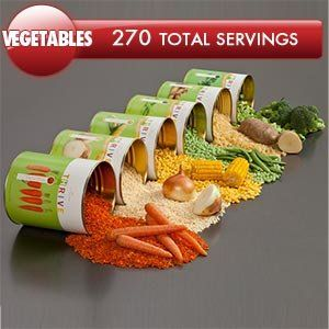 270 Total Servings of Vegetable Variety Pack Emergency Food Kit By Shelf Reliance® Thrive™ 30 Cents Per Serving Six