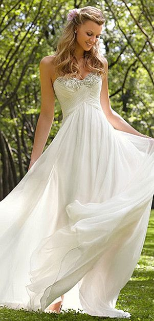 wedding dress - strapless, long flowing white dress http://weddite.com/