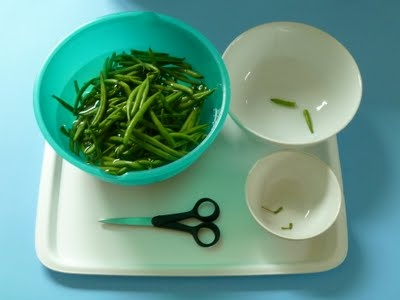 Cut beans..perfect!  They can do me a favor and practice their motor skills ;) win, win