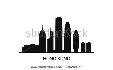 Hong Kong city outline skyline. All Hong Kong buildings - customizable objects, so you can simple change skyline composition. Minimal design.