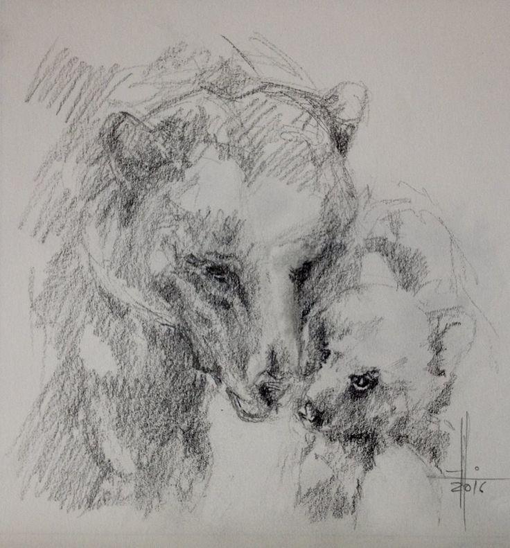 Dibujo de un oso y su osito a lapiz grafito