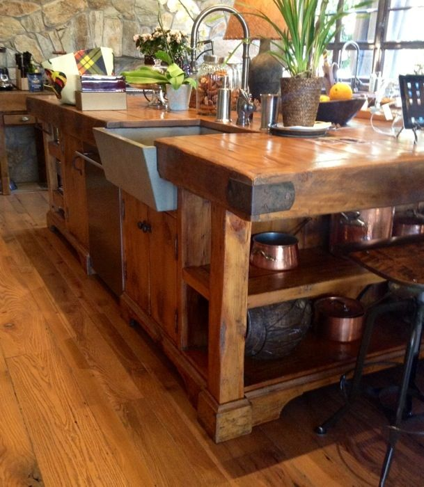 delightful Butcher Block Island Table For Kitchen #9: Beautiful new kitchen island made of reclaimed heart pine granary boards -  I of course would need one on a smaller scale - LOVE.