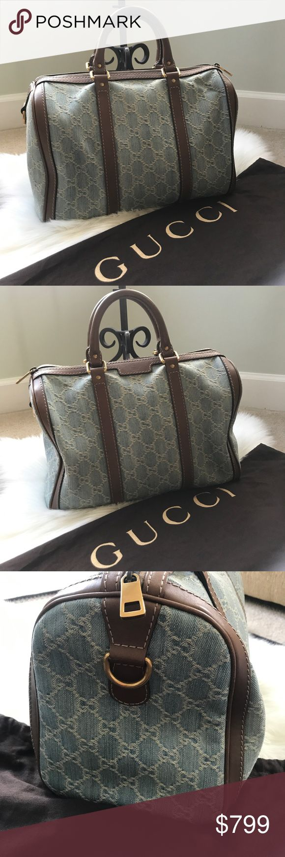 """Gucci Vintage Web GG Denim Boston Bag Authentic Gucci Vintage Web GG Denim bag in very good condition.  Denim and Brown Leather.  Top Zip Closure.  Gold Hardware.  Just some sign of wear on the inside.  Comes with Dust Bag Only. No authenticity card included but the code is pictured.  Double handles with 3 1/2"""" Drop.  No long Strap.  I do not have it anymore.  Price is Firm. Gucci Bags Satchels"""