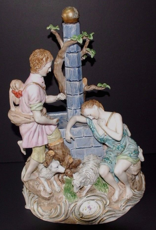 BEAUTIFUL HUGE LARGE HEAVY GERMANY GROUP FIGURINE 15 INCHES