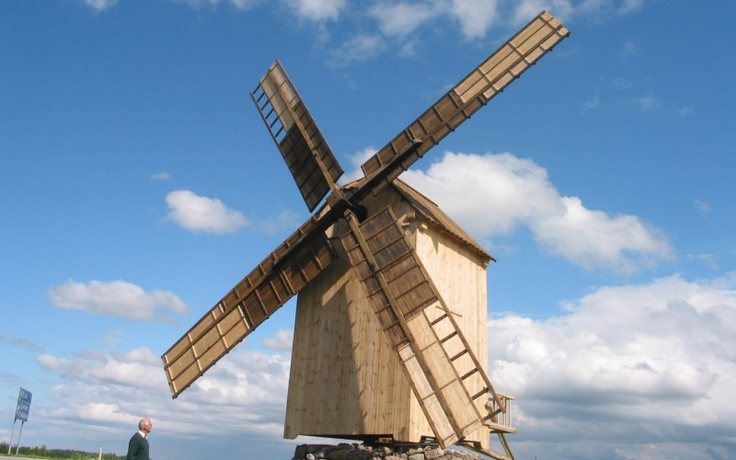 A windmill in Estonia, probably erected as a tourist attraction.