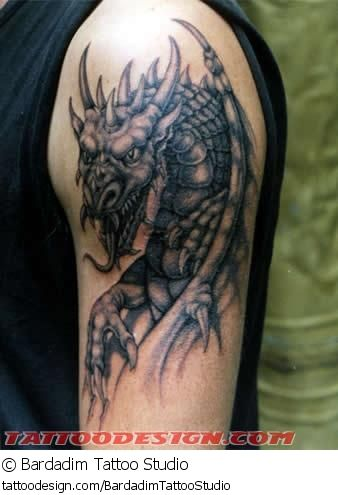 A tattoo design picture by Bardadim Tattoo Studio: fantasy,dragon,dragons,shoulder,black,grey,gray