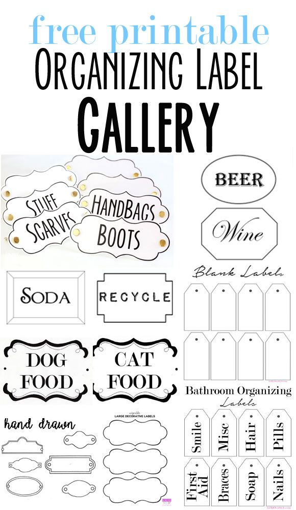 A page full of free printable organizing labels to use around your home.  Plus an affordable way to make them look chic and shiny like enameled labels | In My Own Style