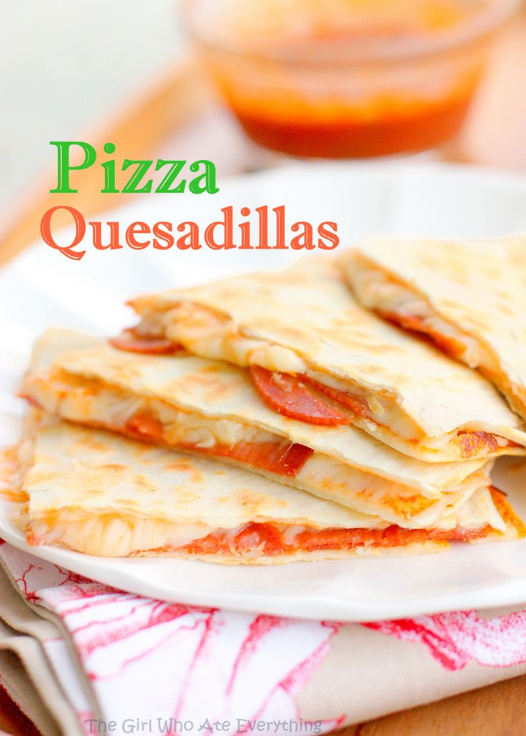 Cheesy Pizza Quesadillas -- fantastic for quick after school & work dinners, fill with ingredients of your choice | The Girl Who Ate Everything
