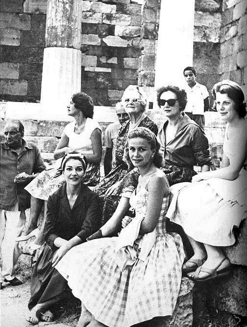 1959, Delphi ~ Maria Callas, Tina Onassis, Lady Churchill and Giovanni Battista Meneghini